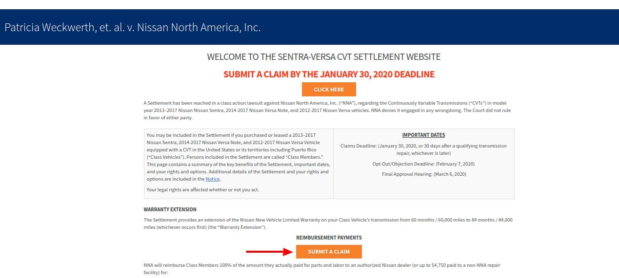 Sentra Versa CVT submit a claim