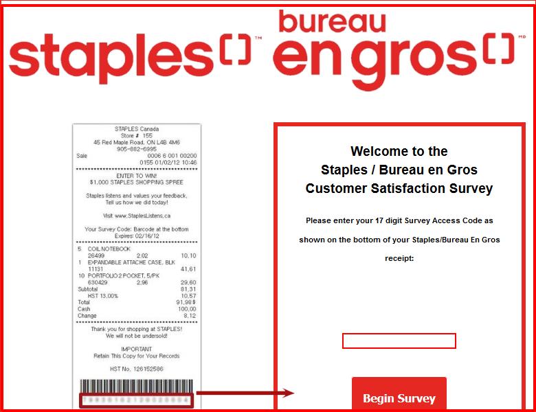 Staples Bureau en gros Survey