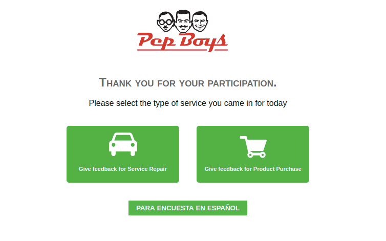 pep boys survey