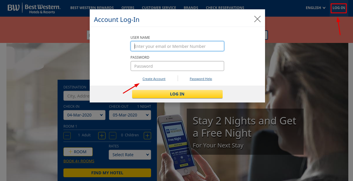 Best Western Hotel Create Account