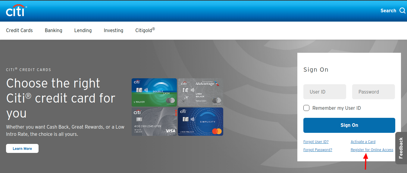 Citi Credit Card Register