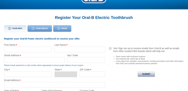 Oral B Electric Register