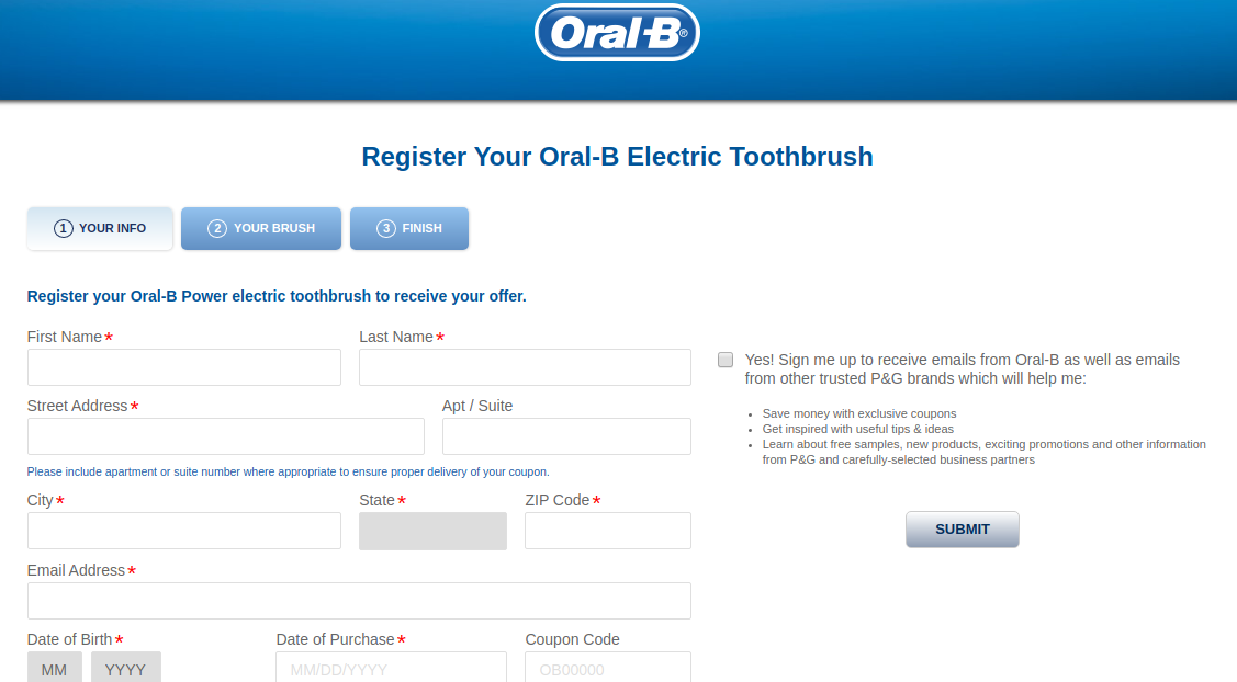 Oral B Electric Register