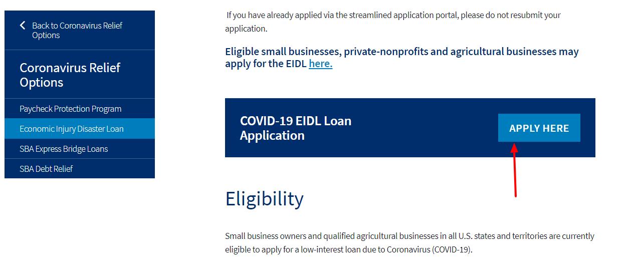 Economic Injury Disaster Loans Apply