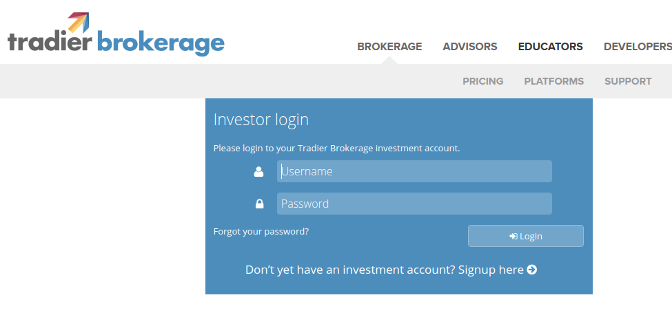 Tradier Brokerage login